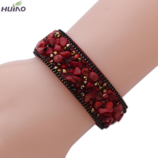 10colors 20cm Length New Design Fashionable Different colors Stone Leather Bangles & Bracelet For Women