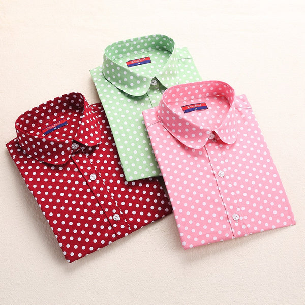 Red Polka Dot Shirts Women Cotton Blouses Long Sleeve Ladies Tops Collar Shirt Female Plus Size 5XL Blusas Clothing For Women