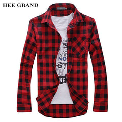 HEE GRAND Hot Sale Men's Vintage Plaid Long Sleeve Shirt  Slim Fit  Shirts High Quality Camisa Masculina M-XXL 5 Colors MCL1555