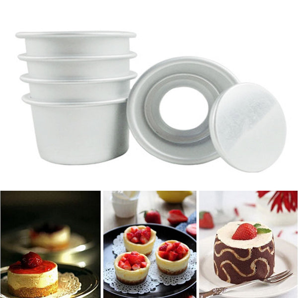 5pcs New 2 Inch Cake Pans Aluminum Alloy Cake Mold Movable Bottom Bakeware Baking Tools For Cakes