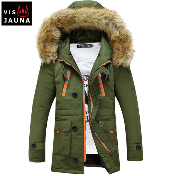 VISADA JAUNA Winter Men's Jackets Hooded Lovers' Solid Color Casual Brand Clothing Medium Length Coats