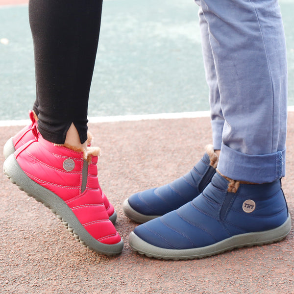 Brand men/women warm shoes Winter high plus size high top lovers snow boots Fashion breathable Unisex casual shoes cotton boots