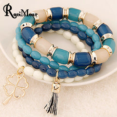 Bracelet Femme 2016 Summer New Multilayers Beads Pulseras Mujer Tassel Charms Bracelets & Bangles for Women Men Jewelry Bijoux