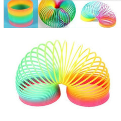 Mayitr 1pc Plastic Rainbow Magic Spring Colorful Rainbow Slinky DIY Stress-Relieve Classic Toy Funny Children Gifts 5*5cm