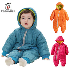 Baby Snowwear Cotton Padded One Piece Warm Outerwear Children's Overalls Baby Romper Kids Winter Jumpsuit Newborn Down & Parkas