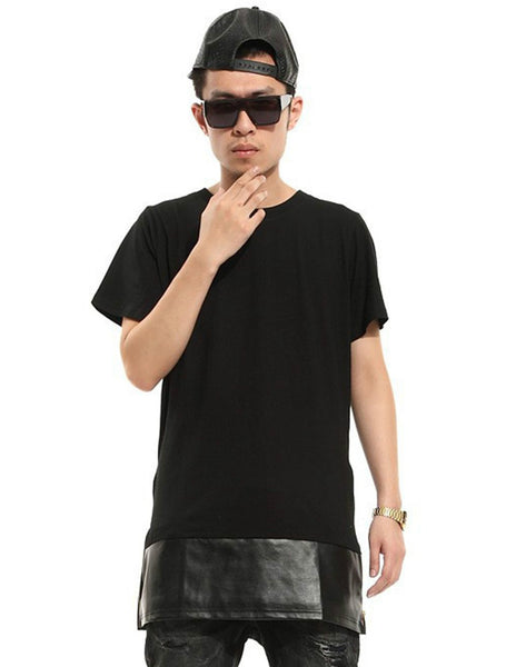 mens t shirts fashion 2015 Gold blaze zipper lengthen westcoast PU T-shirt short-sleeve dress tee