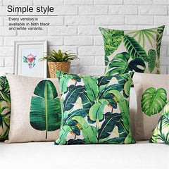 European modern green Leaves pillows cushions plant waist pillow thick linen pillowcase sofa cushion home decorative Pillows