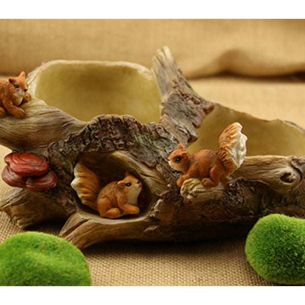 VICTMAX Creative Cartoon Succulent Plant Flower Pot Resin Tree Trunk Landscape With Squirrel Figurine for Home Garden Decoration