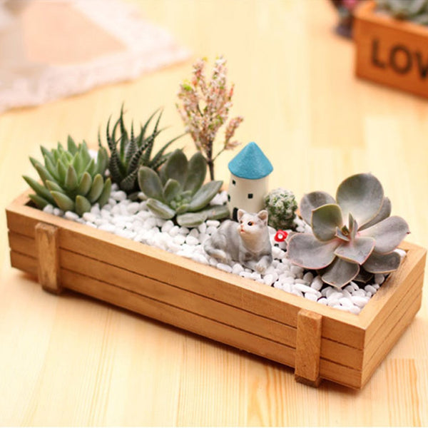 Flowerpot Landscape Garden Plant Antique Wooden Box Stool Rectangular Table Flowerpot Horticultural Equipment