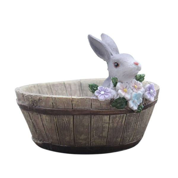 Home Garden Decors Cute Bunny Design Landscape Natural Resin Planter Flower Pot