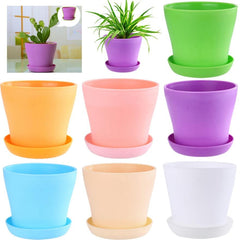 Colourful Mini Round Plastic Meat Plant Flower Pot Succulent Plant Flowerpot Garden Home Office Decor Micro Landscape Planter