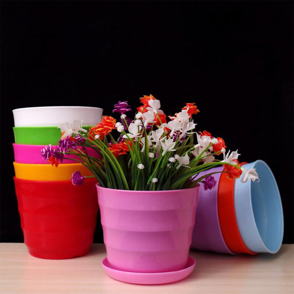 Mini Round Plastic Meat Plant Flower Pot Garden Home Office Decor Micro Landscape Planter