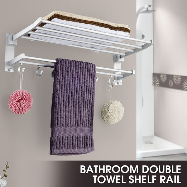2 Layer Alumimum Foldable Bathroom Towel Rack Holder Wall Mounted Storage Hanger Kitchen Hotel Towel Clothes Shelf With 5 Hooks