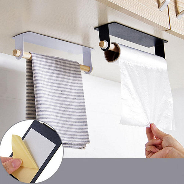 Adeeing Kitchen Towel Rack Single Rod Nail-free Sticky Commodity Shelf Duster Cloth Hanger