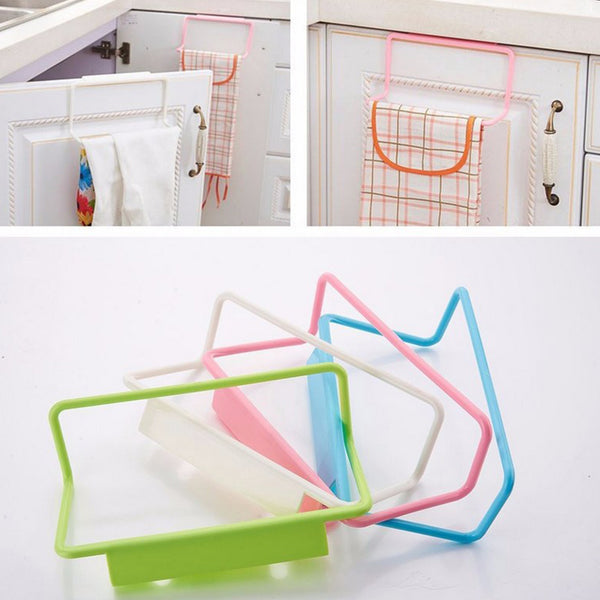 Towel Holder Kitchen Organizer Bathroom Towel Holder Plastic Indented Towels Hanger Cabinet Cupboard Door Back towel Rack Best