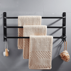Creative black paint towel rack toilet silver mirror three-layer towel bar 40/50/60cm towel rack bathroom hardware kit