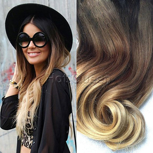 New Arrival Queen Brown & Blonde Ombre Human Hair Extensions 7pcs/Set 70 g 5A Brazilian Wavy Remy Clip In Human Hair Extensions