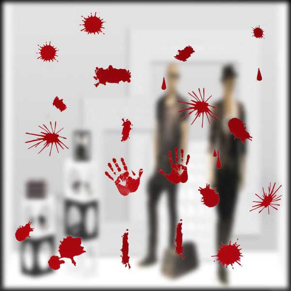 1set/bag Halloween Glass Sticker Horrible Blood Handprint Footprint Red Color Personality Glass Paste for Halloween Docoration