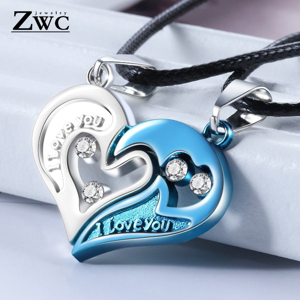 1 Pair Fashion Luxury Love Heart Combination Pendant Necklace for Women Men Romantic Valentine's Day Pendant Necklace Jewelry