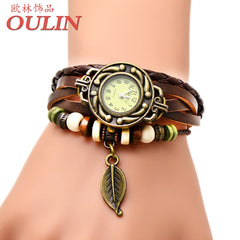 New Arrival Leaf Pendant Vintage Quartz Analog Brown Strap Women Leather Bracelet Dress Watches