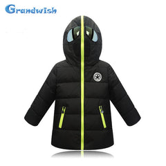 Grandwish New Winter Boys Cool Glasses Down Jackets Kids Printing Hooded Warm Coat Girls Outerwear Kids Clothes 4T-12T, SC351