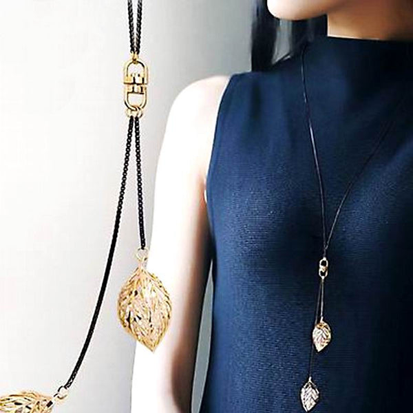 Classic Leaf Tassel Long Necklace Women Bijoux New Fashion Jewelry Black Chain Necklaces & Pendants