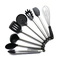 HOT SALE 8 Piece Kitchen Utensil Set Stainless Steel and Black Silicone Modern Nonstick Utensils Cooking Tools