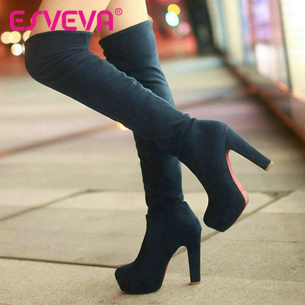 New ESVEVA Pumps High Heels Winter Snow Boots for Over The Knee High Shoes for Woman - Size 34-43