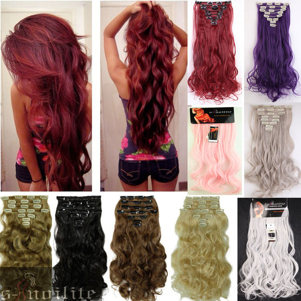 New Arrival Long 24 Inches Curlywavy 8pieceset Real Thick 170g