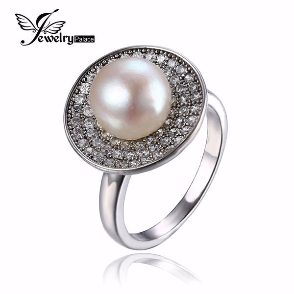 JewelryPalace Luxury 7mm Freshwater Cultured White Pearl Halo Ring 925 Sterling Silver Ring Fashion Design Fine Jewelry