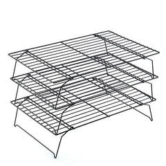 Dozzlor 3 Layer Stainless Steel Nonstick Cooling Rack Baking Cake Cookies Bread Cooling Grids Tool Kitchen Pastry Stands