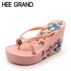 New Fashion HEE GRAND Summer Casual Style Sandals Floral Flip Flops High Platform Wedges Hot Womens Shoes