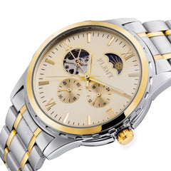 2017 New Full Steel Band Moon Phase Second Hand Business Mechanical Watches for Men
