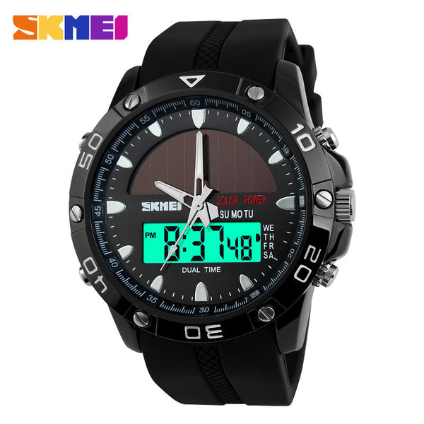 2017 New SKMEI Solar Quartz Digital Sports Relojes Relogio Masculino LED Display Military Waterproof Wristwatches for Men