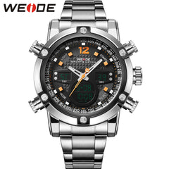 New Arrival WEIDE Fashion Sports Stainless Steel Band Waterproof Analog-Digital Display Quartz Movement Men's Watches