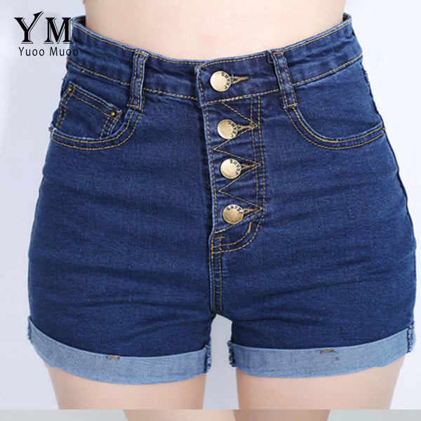 New Brand YuooMuoo 4 Buttons Retro Elastic High Waist Feminino Denim Shorts for Women