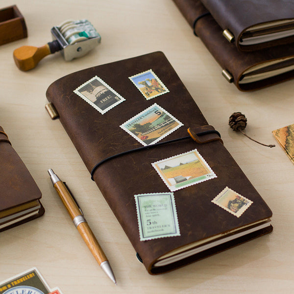 Hot Sale 100% Genuine Cow Leather Cover Traveler's Notebook Diary Journal Vintage Handmade Cute Travel Note Book Pocket