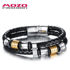 Wholesale 2016 New Fashion Fine Jewelry Tide Men Leather Braided Magnet Buckle Bracelets & Bangles for Male Party Gifts MPH887