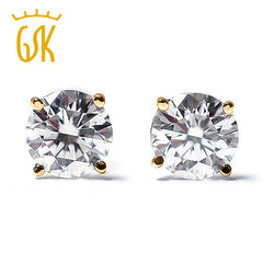 GemStoneKing  14K Yellow Gold Earrings 1/3 Ct Round Cut Natural Diamond  Engagement Stud Earrings For Women