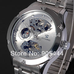 2017 New Fashion OUYAWEI Silver Skeleton Analog Mechanical Automatic Wrist Steel Band Watch for Men