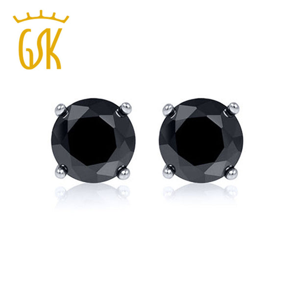 Solid 14K White Gold Jewelry 0.33 Ctw Round Cut Natural Black Diamond  Stud Earrings For Women GemStoneKing