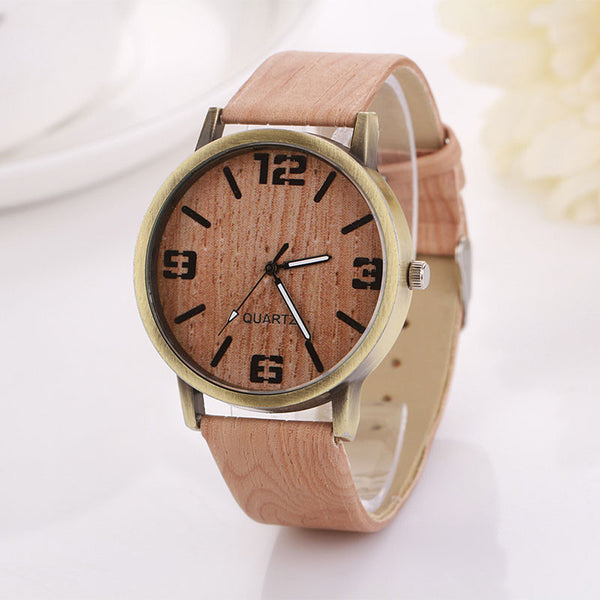 2017 New Wooden Quartz Casual Wooden Color Leather Strap Wristwatch for Men and Women