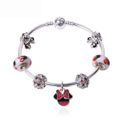 Cute New Design Red Crystal Beads Crown Charms Mickey Minnie Bracelet Silver Plated Alloy European Beads Bracelets Women Gift