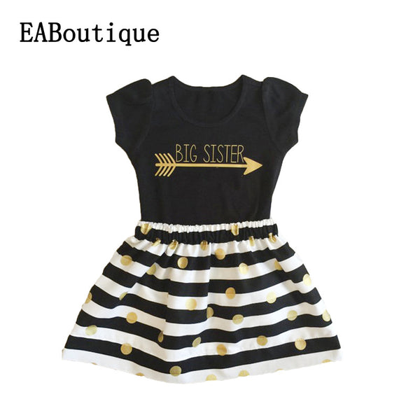 EABoutique  Summer style Fashion Gold Letter printed big sister tee with striped skirt  outfit girls clothes set
