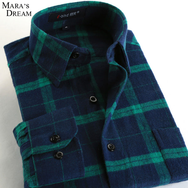 2016 Casual Men Shirt Long Sleeve Slim Fit 100% Cotton Shirt Men Korean business Mens Plaid stripes Shirts Clothes Plus size