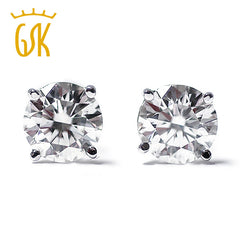 GemStoneKing 0.20 Ct Real Diamond Women Stud Earrings 14K White Gold Luxury Jewelry 2016 New