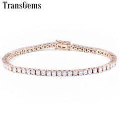Transgems Classic 14K 585 White Yellow Gold Tennis Bracelet For Women 4.08CTW GH Color 2.5mm Moissanite Diamond Bracelets
