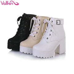New Trendy VALLKIN Rain Winter Snow Platform Wedding Women's Motorcycle Ankle Boots - Size 34-43