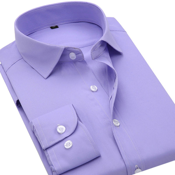2016 New Twill Solid Color Men's Business Casual Long Sleeved Shirt High Quality Male Social Dress Shirt Black Blue White Purple