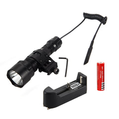 5000Lm XML T6 LED Tactical Flashlight Hunting Torch Light Shotgun/Rifle Picatinny Weaver Mount +Charger+18650 Battery